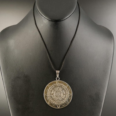 Sterling Mayan Calendar Necklace and Embossed Leather Pouch