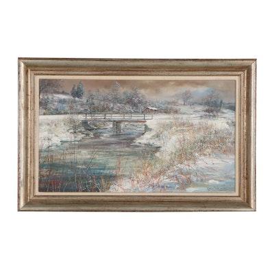 Marion Cook Winter Landscape Oil Painting, 1974