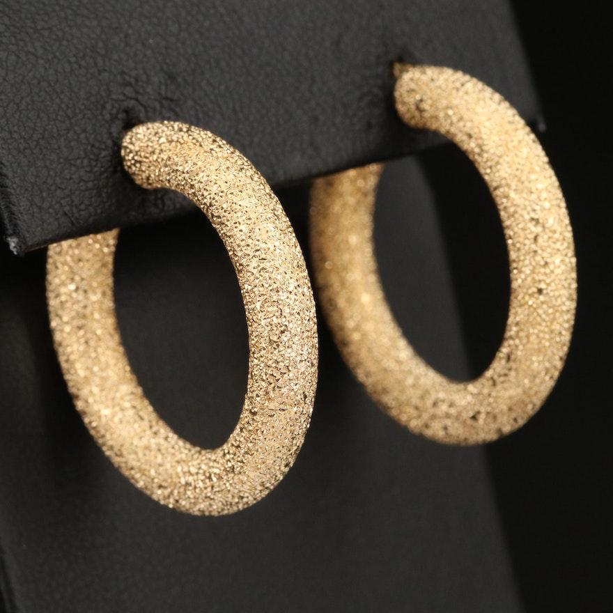 Italian 18K Hoop Earrings with Sand Blasted Finish