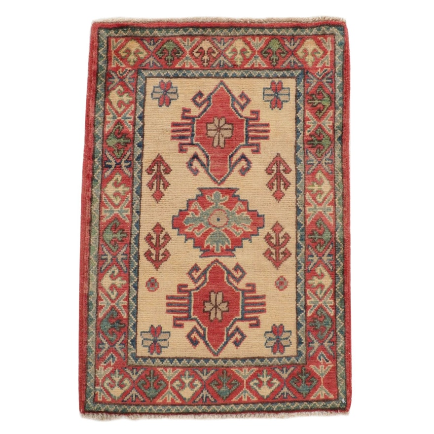 2' x 3'2 Hand-Knotted Afghan Caucasian Kazak Rug, 2010s