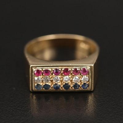 18K Diamond and Gemstone Ring