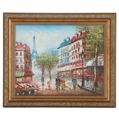 Impressionist Style Parisian Street Scene Oil Painting, Late 20th Century