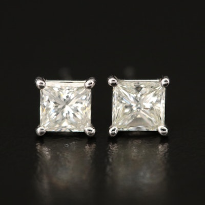 18K 1.20 CTW Diamond Stud Earrings with GIA Dossier and eReport