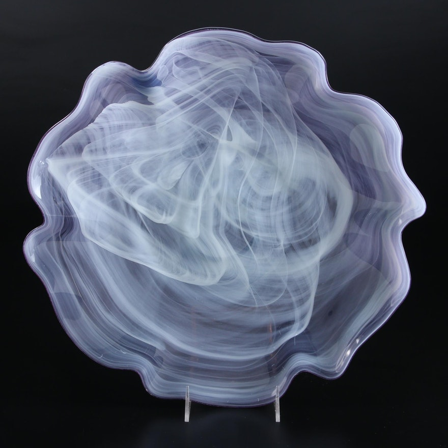 Freeform Smokey Wisp Art Glass Centerpiece Bowl