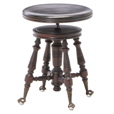 H. Holtzman & Sons Late Victorian Adjustable-Height Swivel Piano Stool, c. 1900