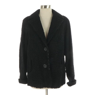Black Persian Lamb Fur Jacket with Velvet Trim from Todd Brothers