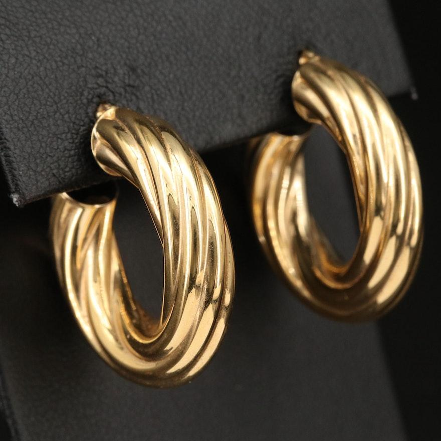 Italian 18K Twisted Hoop Earrings