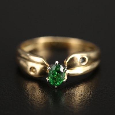 18K Tsavorite Garnet and Diamond Ring