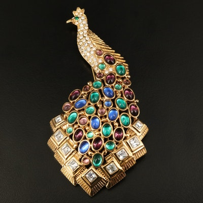 Nolan Miller Rhinestone Peacock Brooch with Glamour Collection Pouch