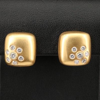 14K Bezel and Gypsy Set Diamond Earrings with Satin Finish