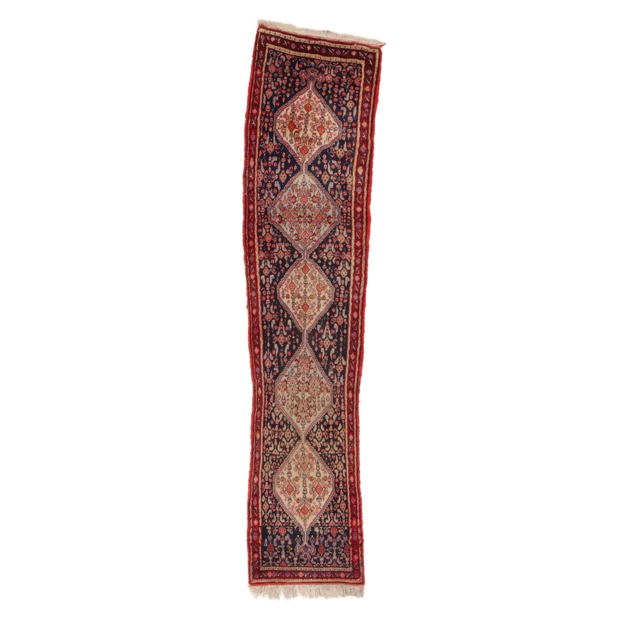1'10 x 8'4 Hand-Knotted Persian Bijar Carpet Runner, 1970s