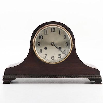 American Mahogany Veneer Tambour Mantel Clock, Early to Mid 20th Century