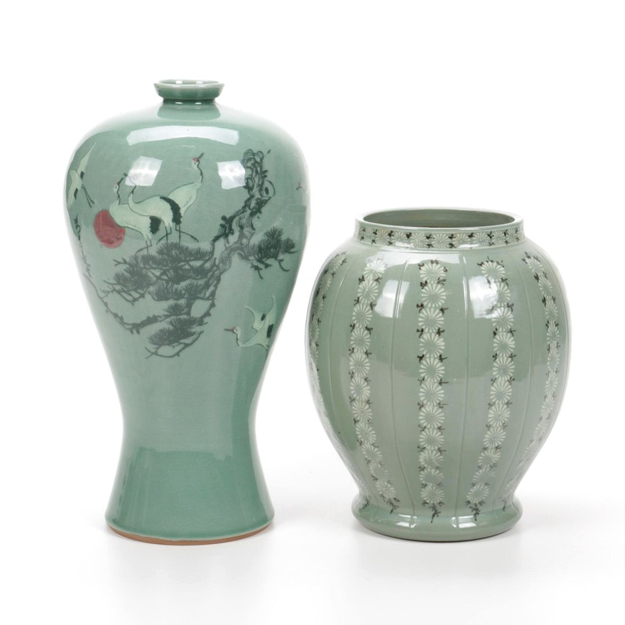 Korean Paint Decorated Green Glaze Ceramic Vases