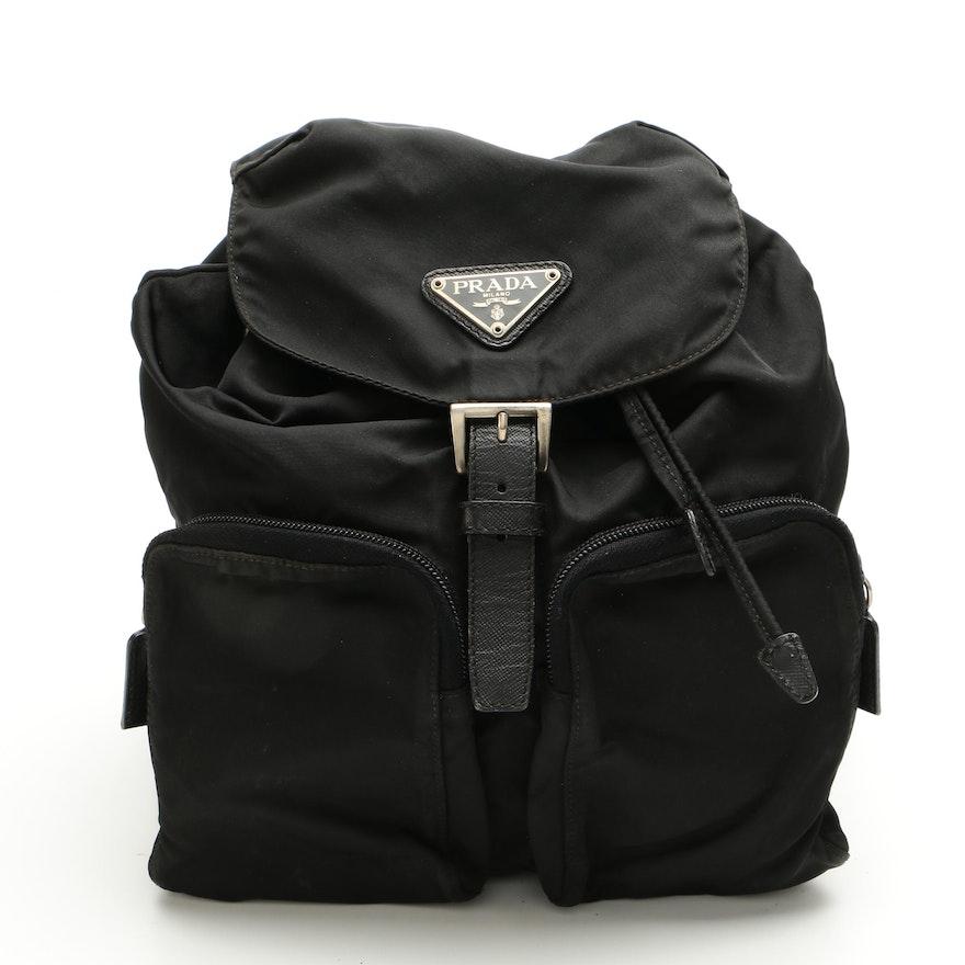 Prada Drawstring Backpack in Black Tessuto Nylon with Saffiano Leather Trim