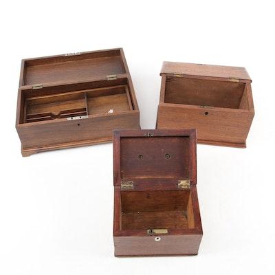 Victorian Mahogany Shaving Box with Other Walnut Lidded Boxes, 19th Century