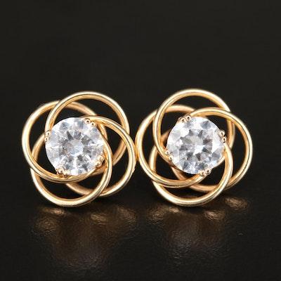 14K Cubic Zirconia Stud Earrings with Love Knot Jackets