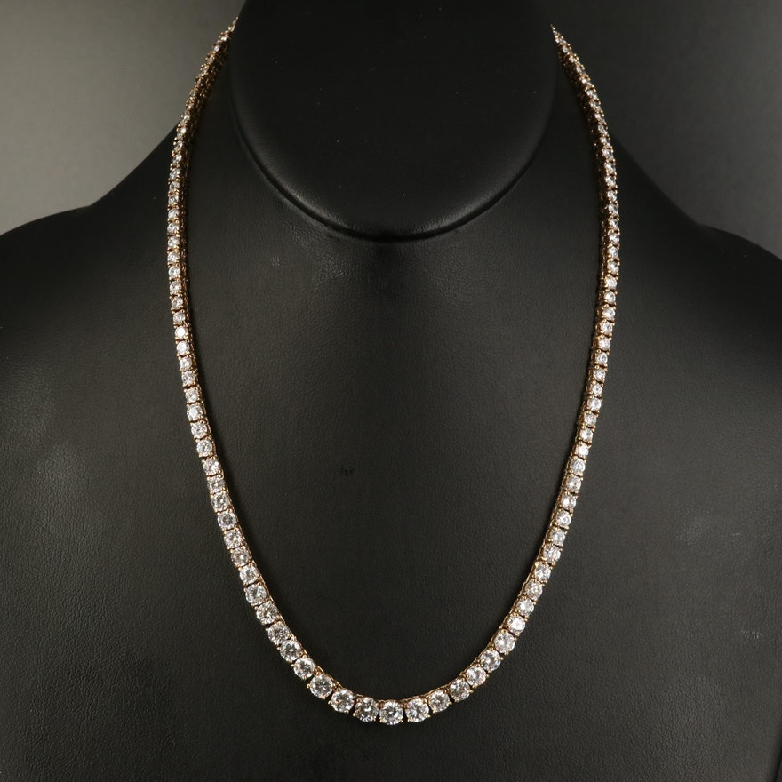 Sterling Cubic Zirconia Graduated Line Necklace