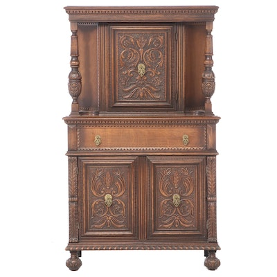 Jacobean Style Relief-Carved Oak China Cupboard, Early to Mid 20th Century