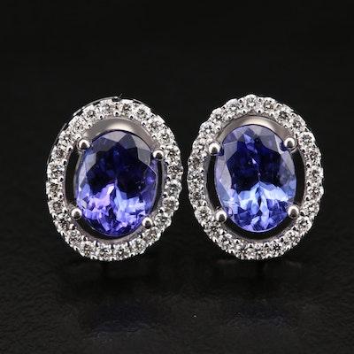 14K Tanzanite and Diamond Halo Earrings