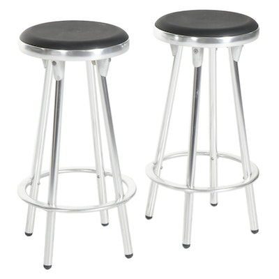 Pair of Contemporary Indecasa Counter Height Metal Stools