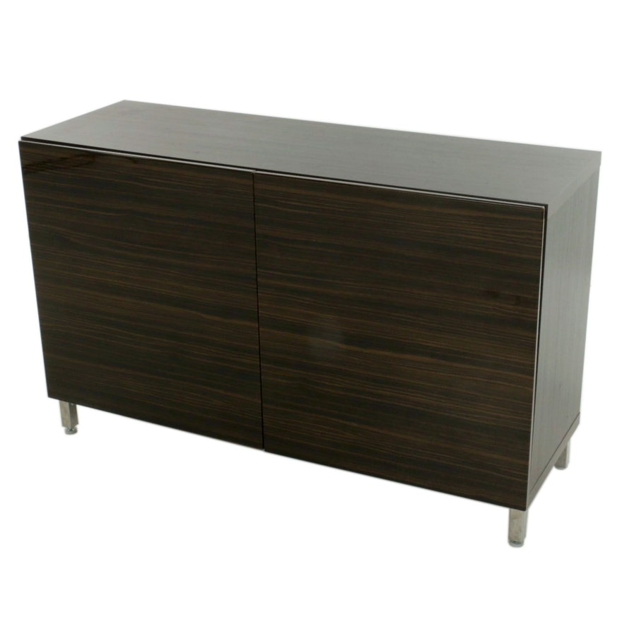 Contemporary Cabinet with Faux Zebrawood Doors