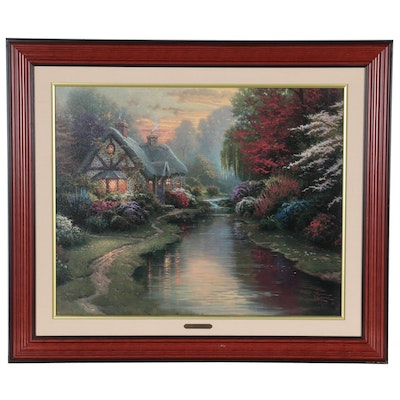 """Embellished Offset Lithograph after Thomas Kinkade """"A Quiet Evening"""""""