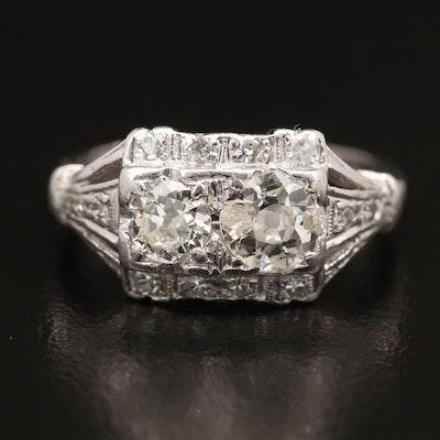 """Edwardian Platinum 1.08 CTW Diamond """"Toi-et-Moi"""" Ring"""