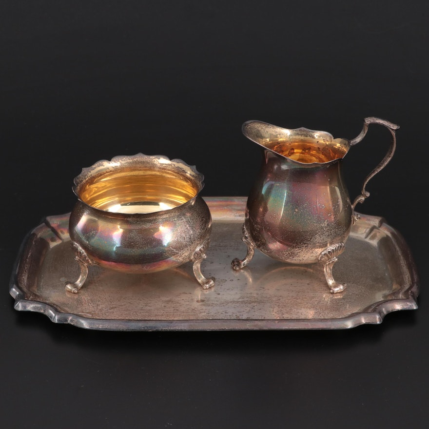 Poole Sterling Silver Creamer and Sugar with Underplate, Mid-20th Century