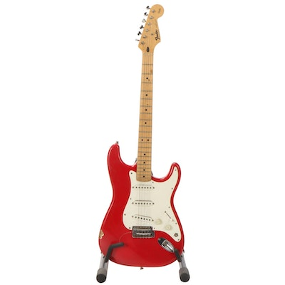 Fender Squier Stratocaster Electric Guitar with Stand, Strap, and Gig Bag