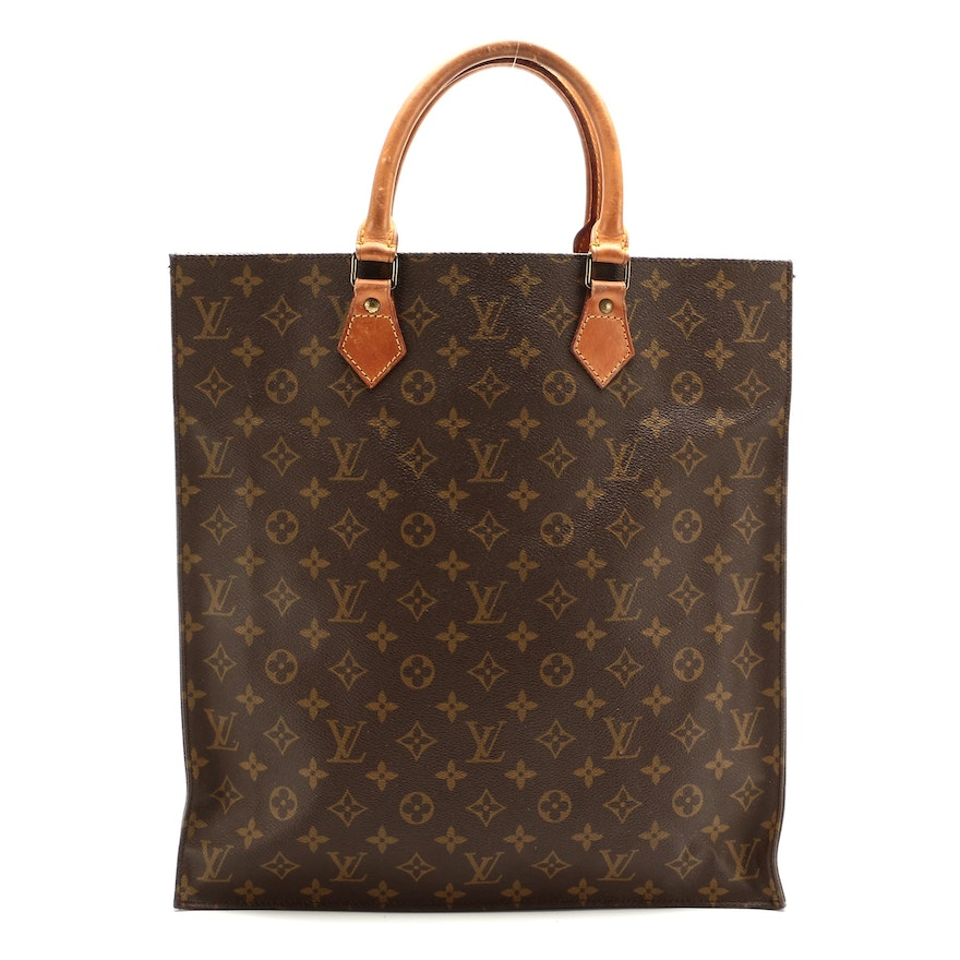 Louis Vuitton Sac Plat Tote in Monogram Canvas and Vachetta Leather
