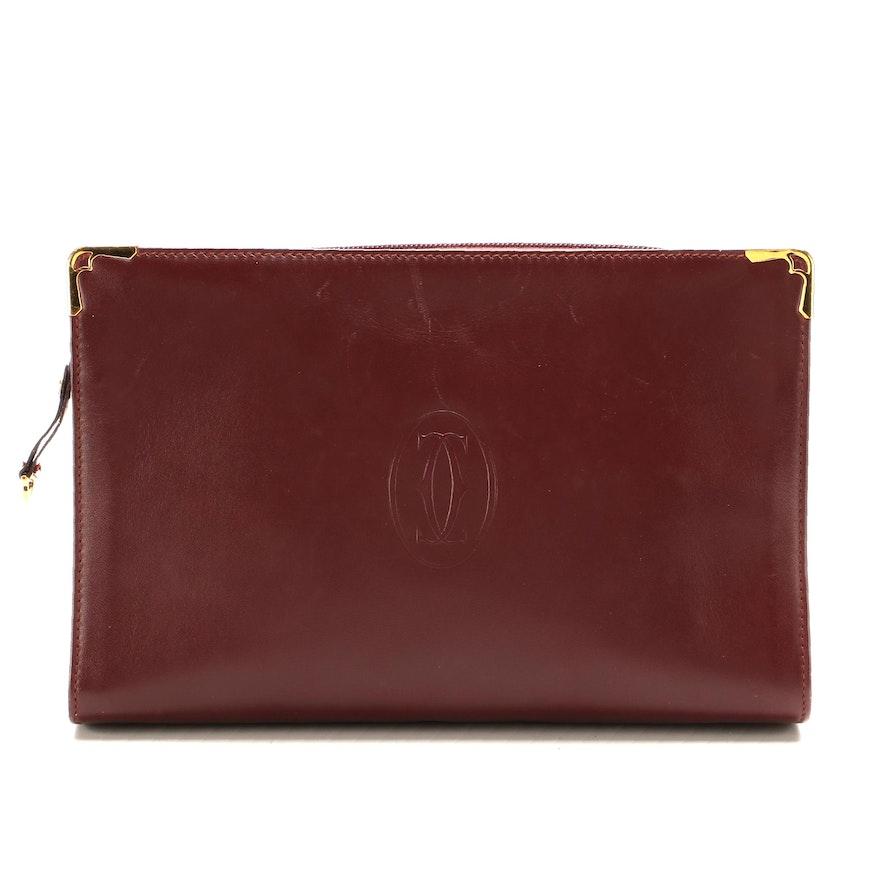 Must de Cartier Burgundy Leather Zip Clutch