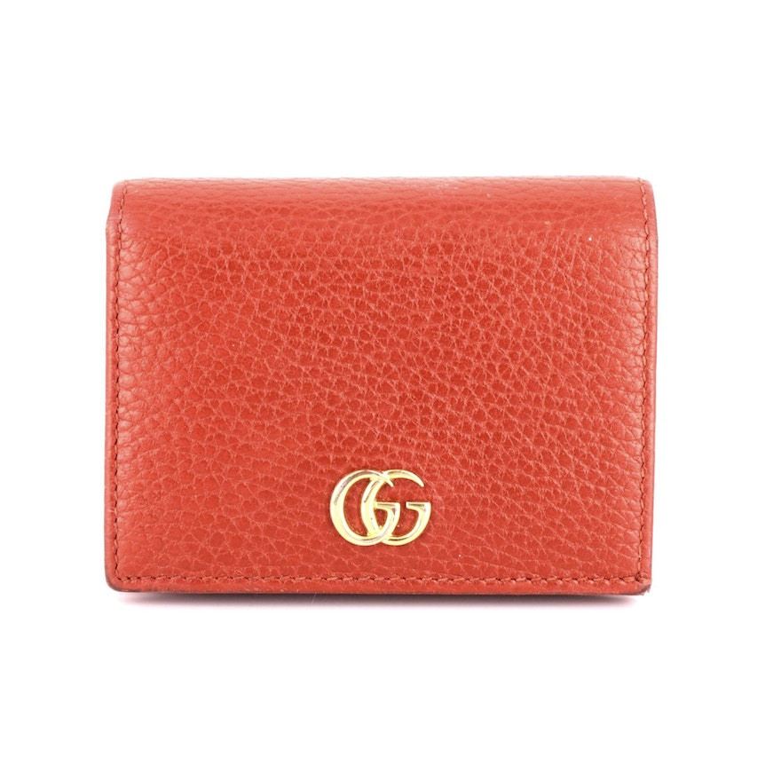 Gucci Double G Card Case Wallet in Grained Leather