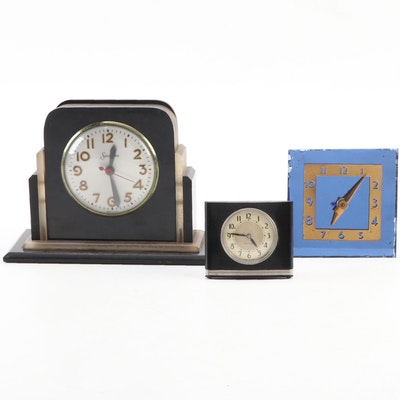 Sessions, Westclox, and Middlebury Art Deco Alarm Clocks, Early to Mid-20th C.