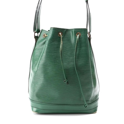 Louis Vuitton Noé Bucket Bag in Borneo Green Epi and Smooth Leather