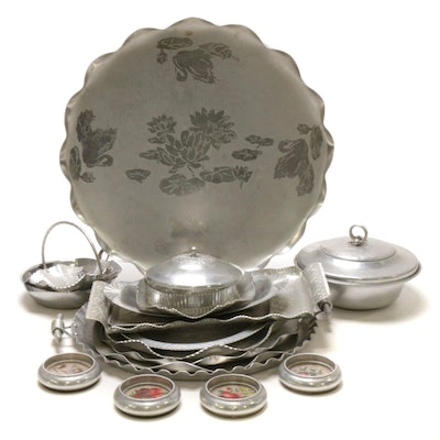 Aluminum Trays and Other Tableware, Mid to Late 20th Century