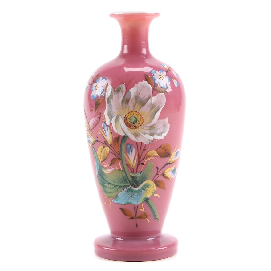 Victorian Pink Cased Bristol Glass Vase with Hand-Painted Enamel, Antique