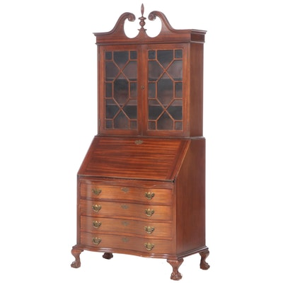 Maddox Chippendale Style Mahogany Secretary Bookcase, Mid-20th Century
