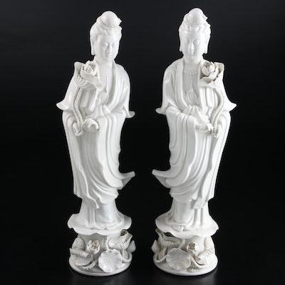 Chinese Blanc de Chine Porcelain Guanyin Figurines