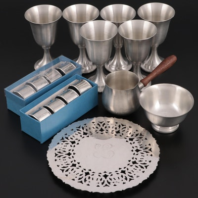 Leonard Pewter Wine Goblets with Other Pewter and Silver Plate Table Accessories