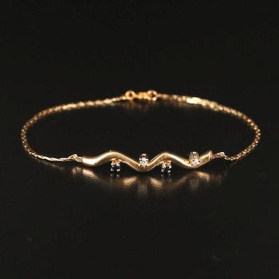 14K Diamond and Sapphire Undulating Bar Bracelet