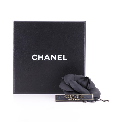 Chanel Black Camellia Flower Brooch Pin and Box