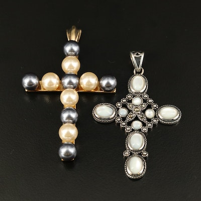 Sterling Cross Pendants Including Mother of Pearl, Faux Pearl and Marcasite