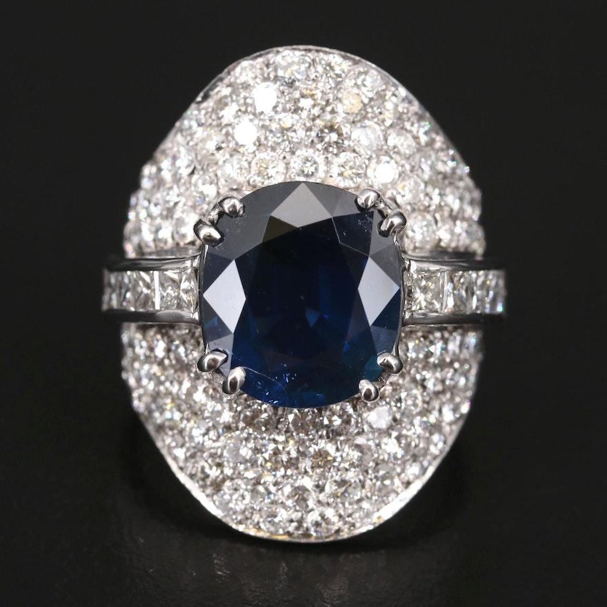14K 6.10 CT Sapphire and 3.45 CTW Diamond Saddle Ring