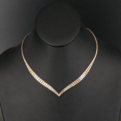 Tri-Color Italian Sterling Chevron Necklace