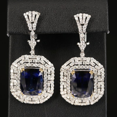 18K 20.18 CTW Sapphire and 5.21 CTS Diamond Earrings