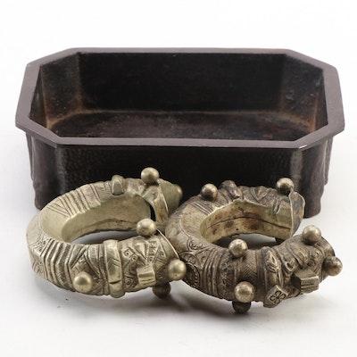 Indian Makara Head Bracelets with Asian Cast Iron Censer Tray