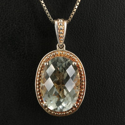 Sterling Praisiolite and Diamond Reversible Pendant Necklace