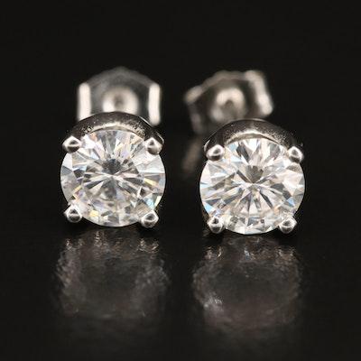Platinum Moissanite Solitaire Earrings