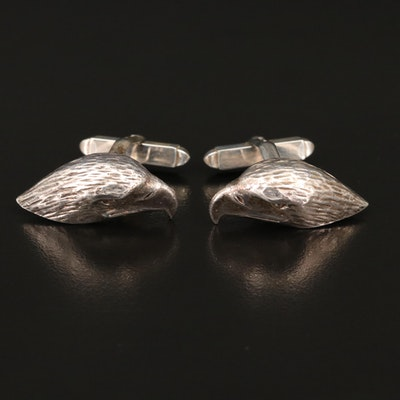 Vintage English Sterling Eagle Head Cufflinks
