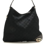 Gucci GG Black Canvas and Leather Shoulder Bag
